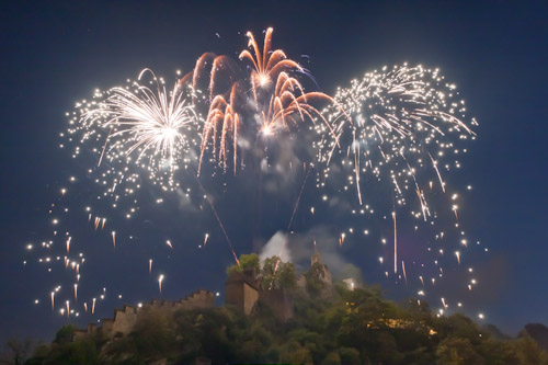Fireworks Over A Castle in Switzerland