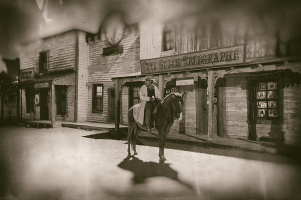 Cowboy on a horse in Tabernas Spain, Image created with Analog Efex Pro
