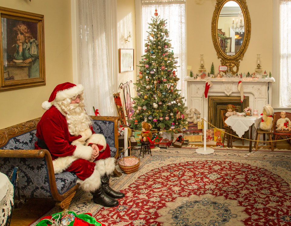 Santa in a Victorian home setting